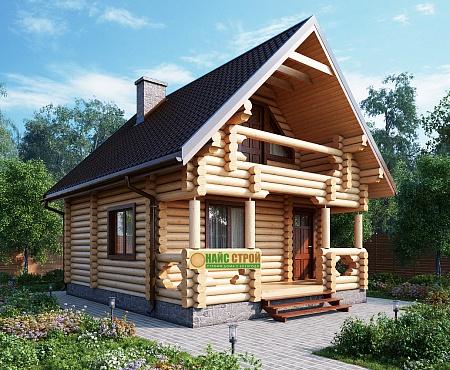 дом с мансардой под ключ из бревна
